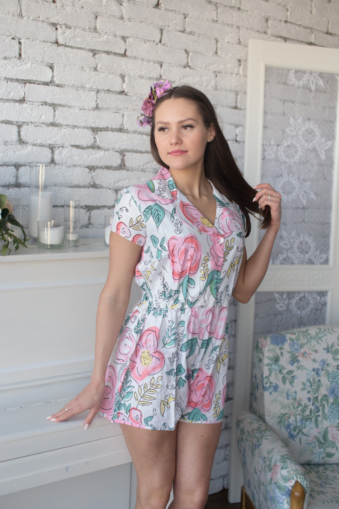 Mismatched Bridesmaids Rompers in Whimsical Giggles Pattern