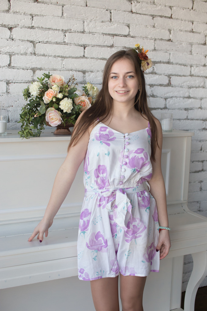 Mismatched Bridesmaids Rompers in Blushing Flowers Pattern