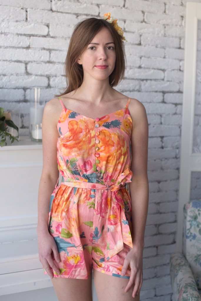 Mismatched Bridesmaids Rompers in Her Petal Garden Pattern