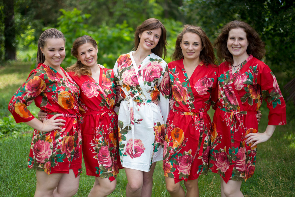 Red Large Floral Blossom Robes for bridesmaids   Getting Ready Bridal Robes