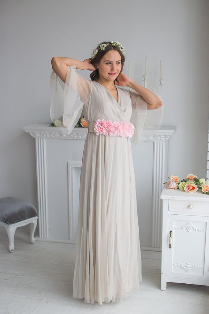 Champagne Pink Bridal Robe from my Paris Inspirations Collection - Intricate Details in Nude