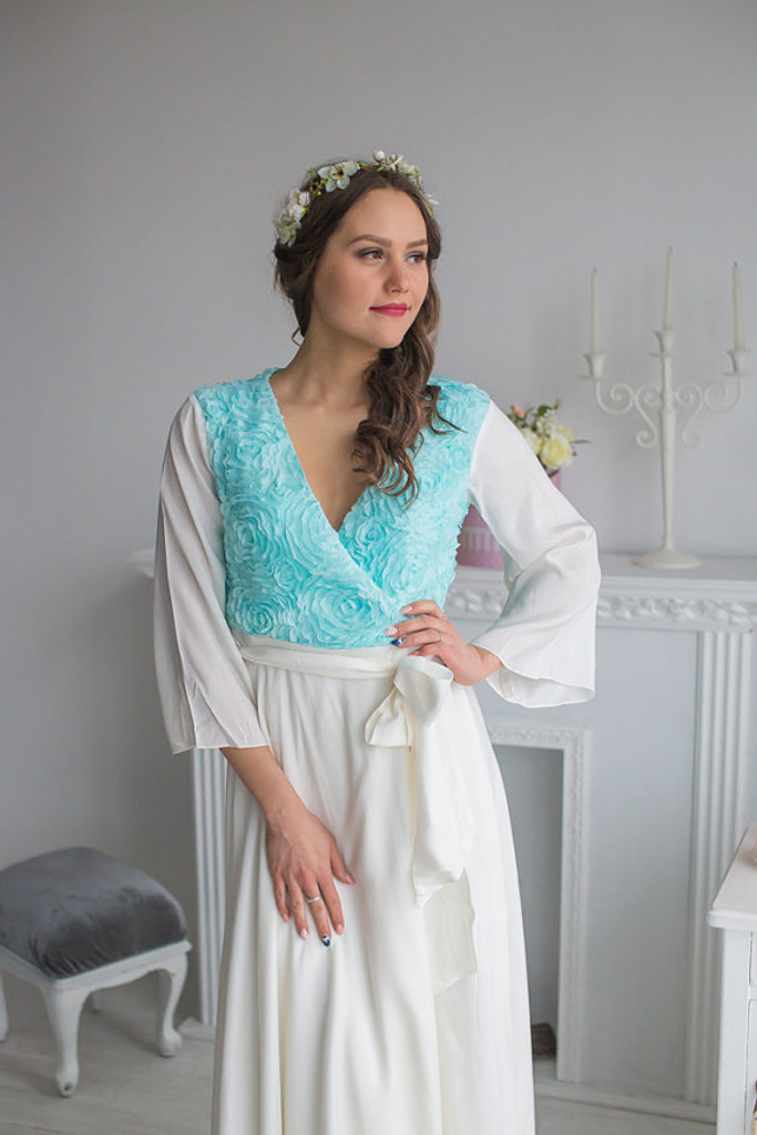 Aqua White Bridal Robe from my Paris Inspirations Collection - Those Roses in Aqua