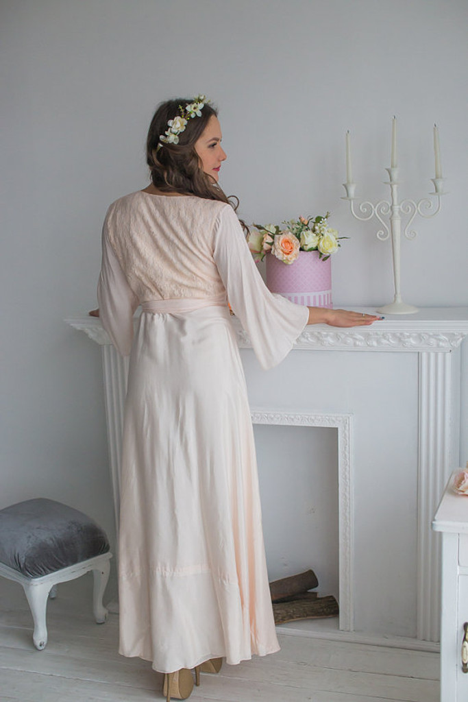 Blush Bridal Robe from my Paris Inspirations Collection - Lacey Silk in Blush