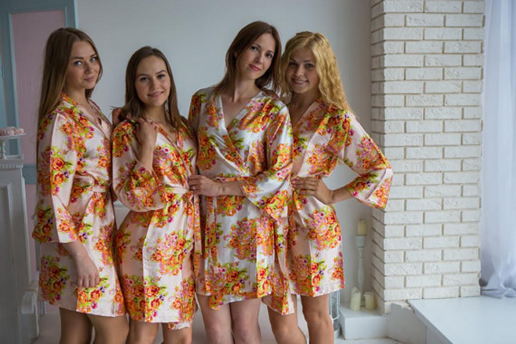 Blush Floral Posy Silk Bridesmaids robes | Getting ready robe