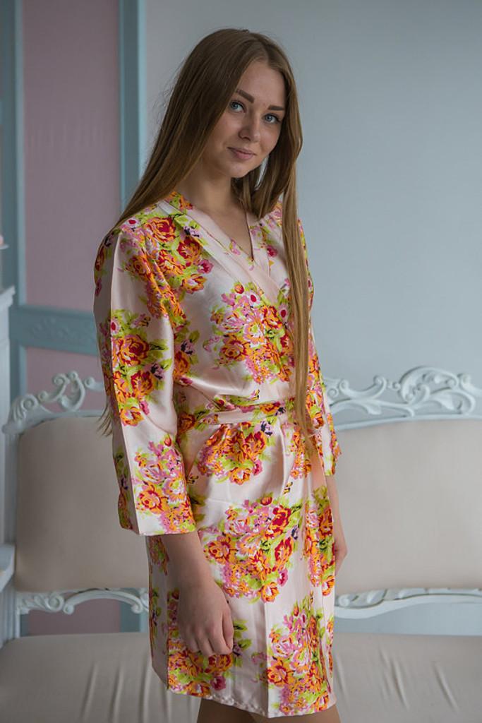 Blush Floral Posy Silk Bridesmaids Robes