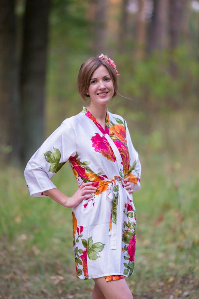 Mismatched Large Floral Blossom Silk Bridesmaids Robes