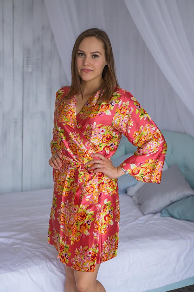 Marsala Floral Posy Silk Bridesmaids robes