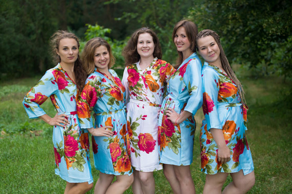 Light Blue Large Floral Blossom Silk Bridesmaids robes