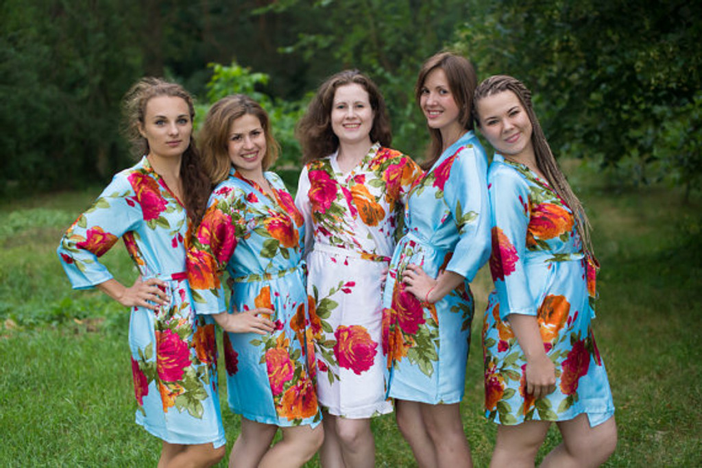 Light Blue Large Floral Blossom Silk Bridesmaids robesLight Blue Large Floral Blossom Silk Bridesmaids robes