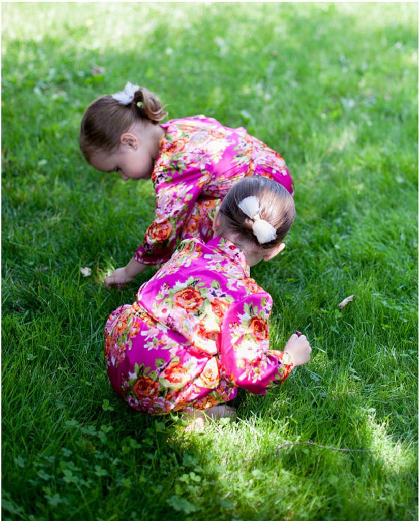 Magenta Floral Posy Silk Bridesmaids robes