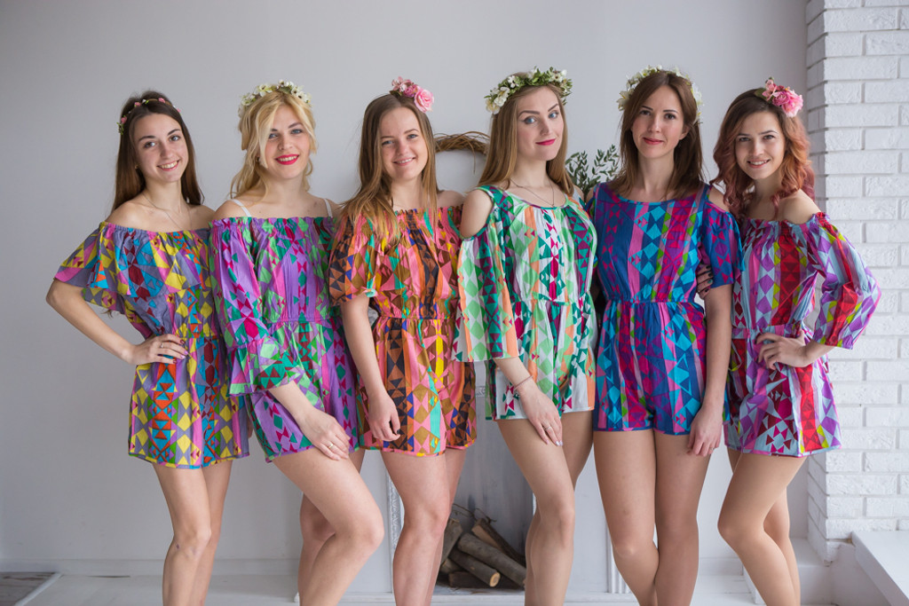 Mismatched Bridesmaids Rompers in Diamond Aztec Pattern