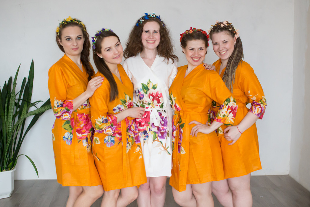 Mustard One long flower pattered Robes for bridesmaids | Getting Ready Bridal Robes