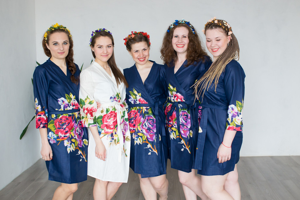 Navy Blue One long flower pattered Robes for bridesmaids | Getting Ready Bridal Robes
