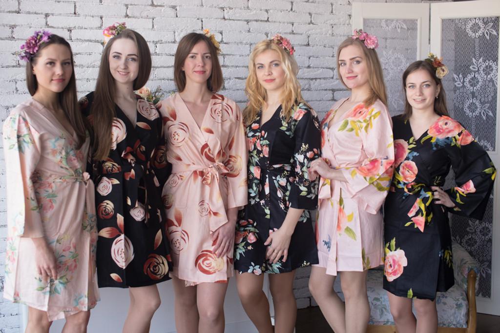 Blush & Black Wedding Color Robes - Premium Rayon Collection