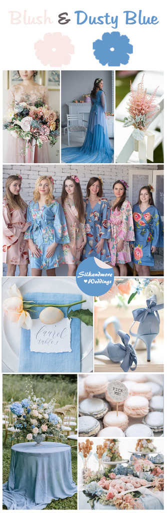 Blush and Dusty Blue Wedding Color Robes - Premium Rayon Collection