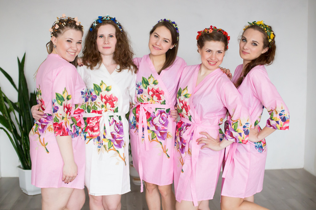 Pink One long flower pattered Robes for bridesmaids | Getting Ready Bridal Robes