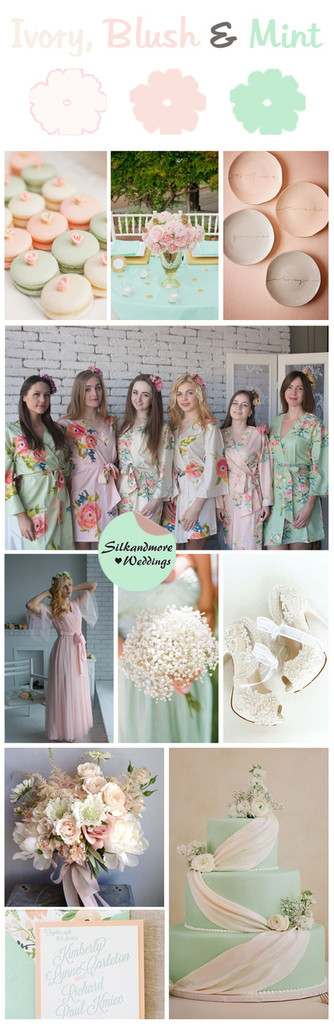 Ivory, Blush and Mint Wedding Color Robes - Premium Rayon Collection