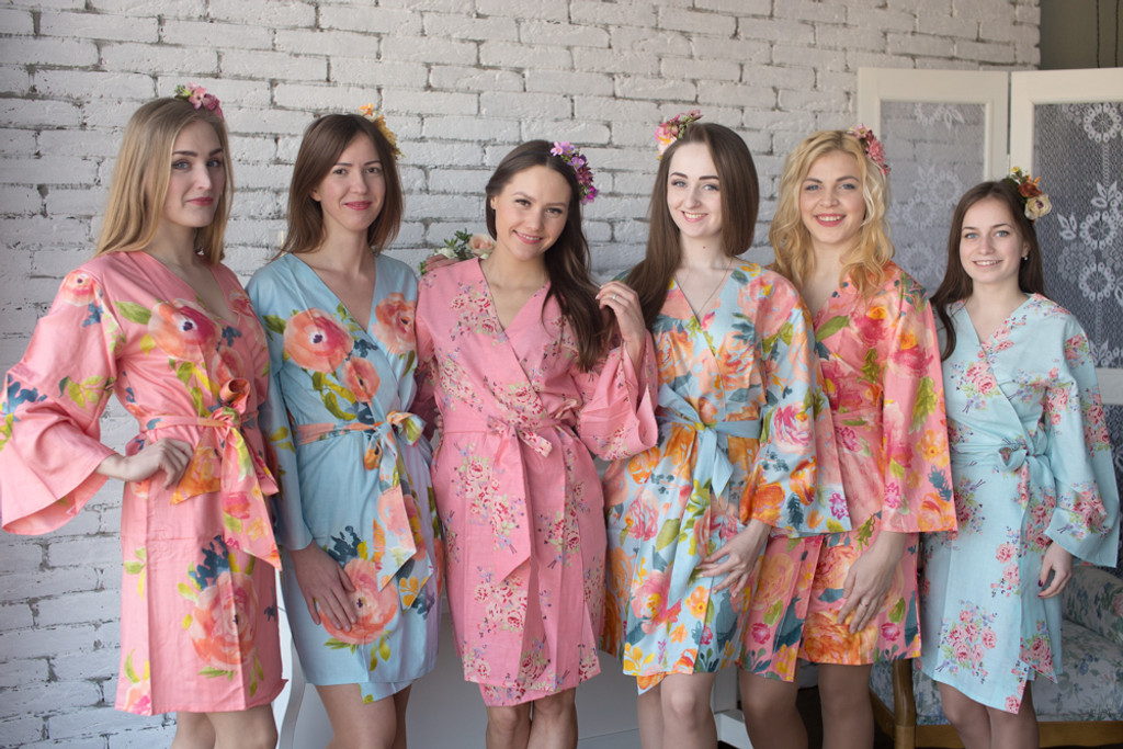 Light Blue and Peach Wedding Color Robes - Premium Rayon Collection