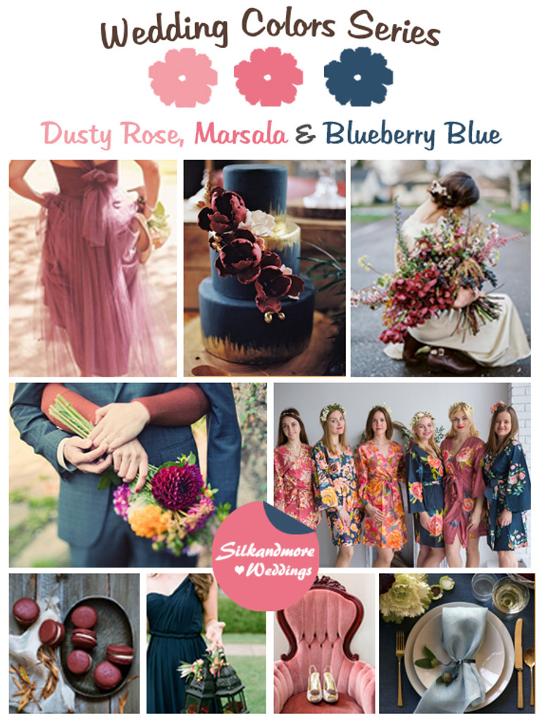 Marsala, Dusty Rose and Blueberry Blue  Wedding Colors Palette