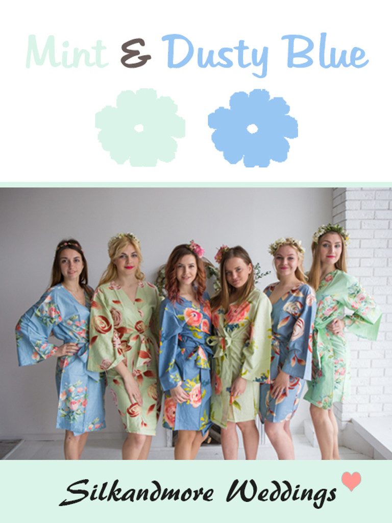 Mint and Dusty Blue Wedding Color Robes - Premium Rayon Collection