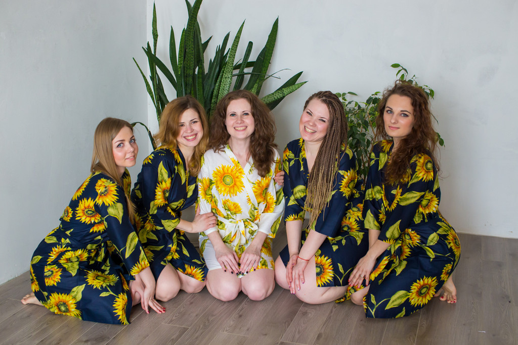Dark Blue Sunflower Robes for bridesmaids | Getting Ready Bridal Robes