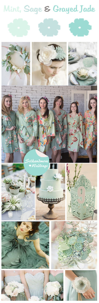 Mint, Sage and Grayed Jade Wedding Color Robes - Premium Rayon Collection