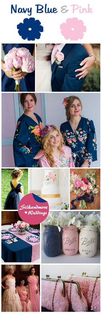 Navy Blue and Pink Wedding Color Robes - Premium Rayon Collection