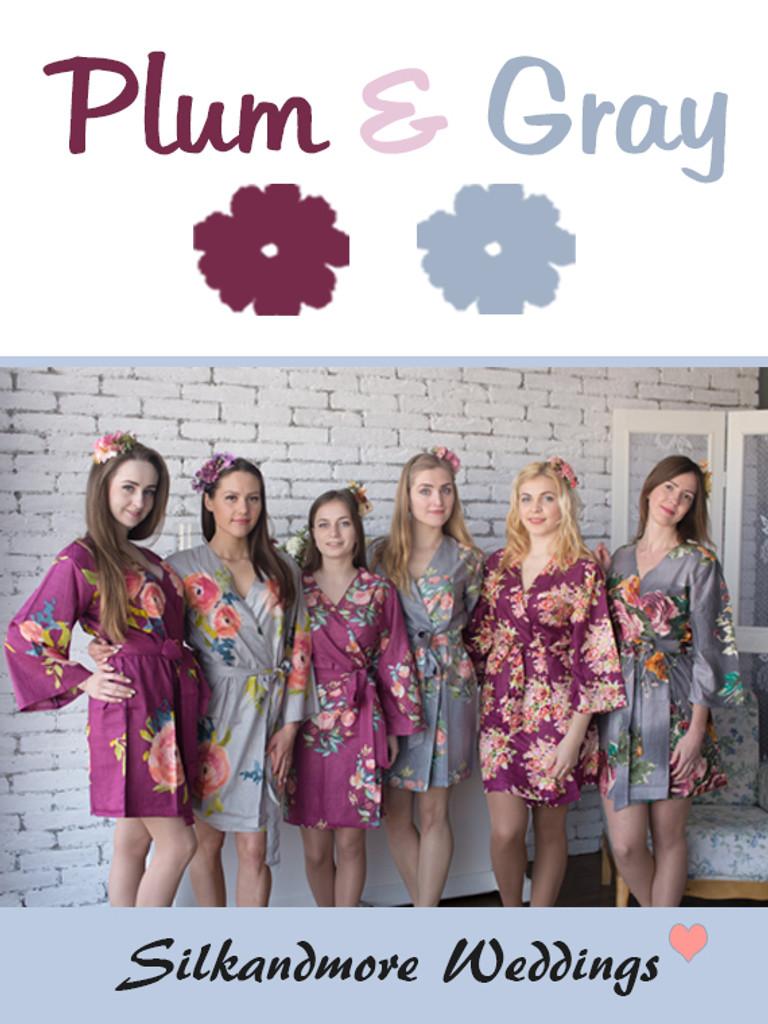 Plum and Gray Wedding Color Robes - Premium Rayon Collection