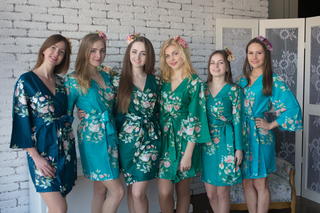 Shades of Teal and Green Wedding Color Robes - Premium Rayon Collection
