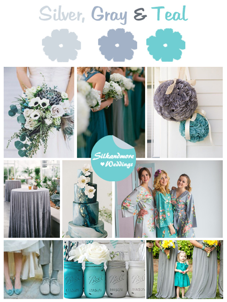 Silver, Gray and Teal Wedding Color Robes - Premium Rayon Collection