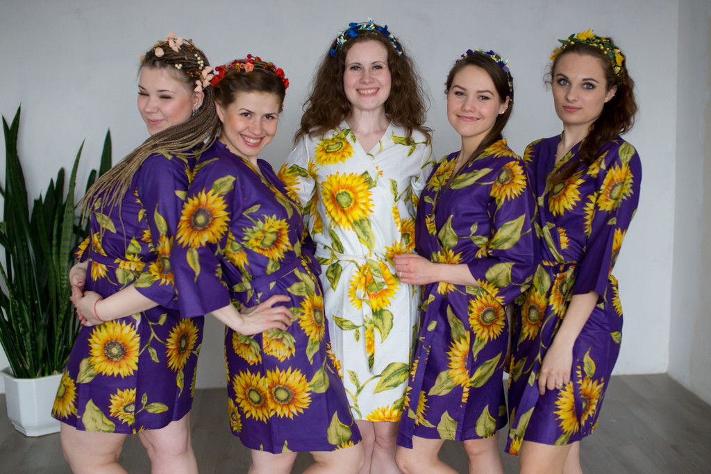 Purple Sunflower Robes for bridesmaids | Getting Ready Bridal Robes