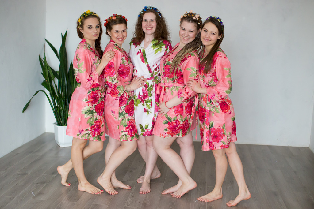 Coral Large Fuchsia Floral Blossoms Robes for bridesmaids | Getting Ready Bridal Robes