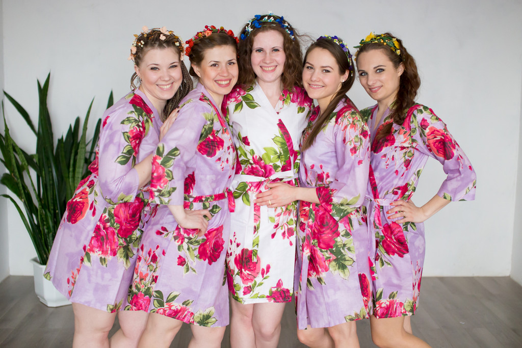 Lavender Large Fuchsia Floral Blossoms Robes for bridesmaids | Getting Ready Bridal Robes