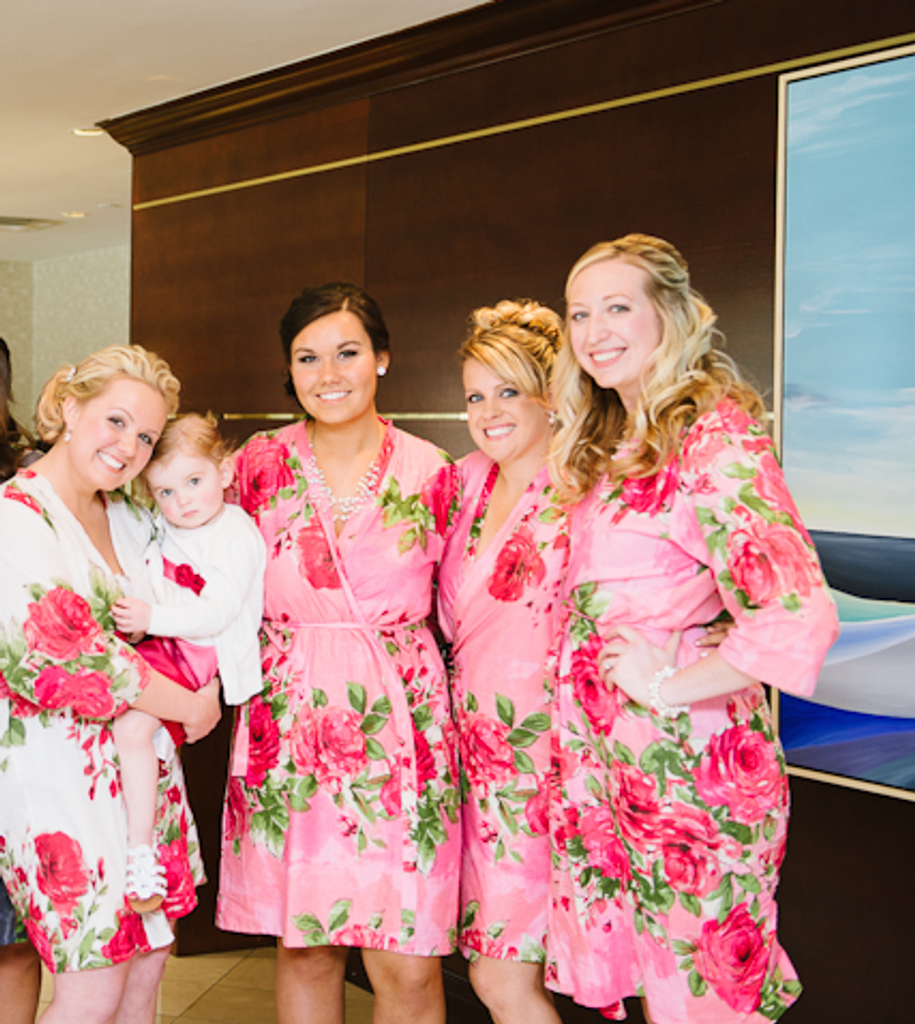 Pink Large Fuchsia Floral Blossoms Robes for bridesmaids | Getting Ready Bridal Robes