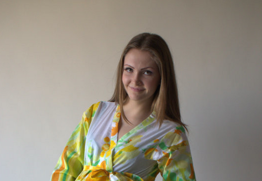Yellow Floral Watercolor Painting Robes for bridesmaids | Getting Ready Bridal Robes