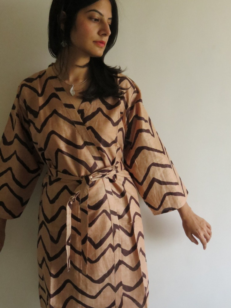 Coffee Chevron Robes for bridesmaids | Getting Ready Bridal Robes