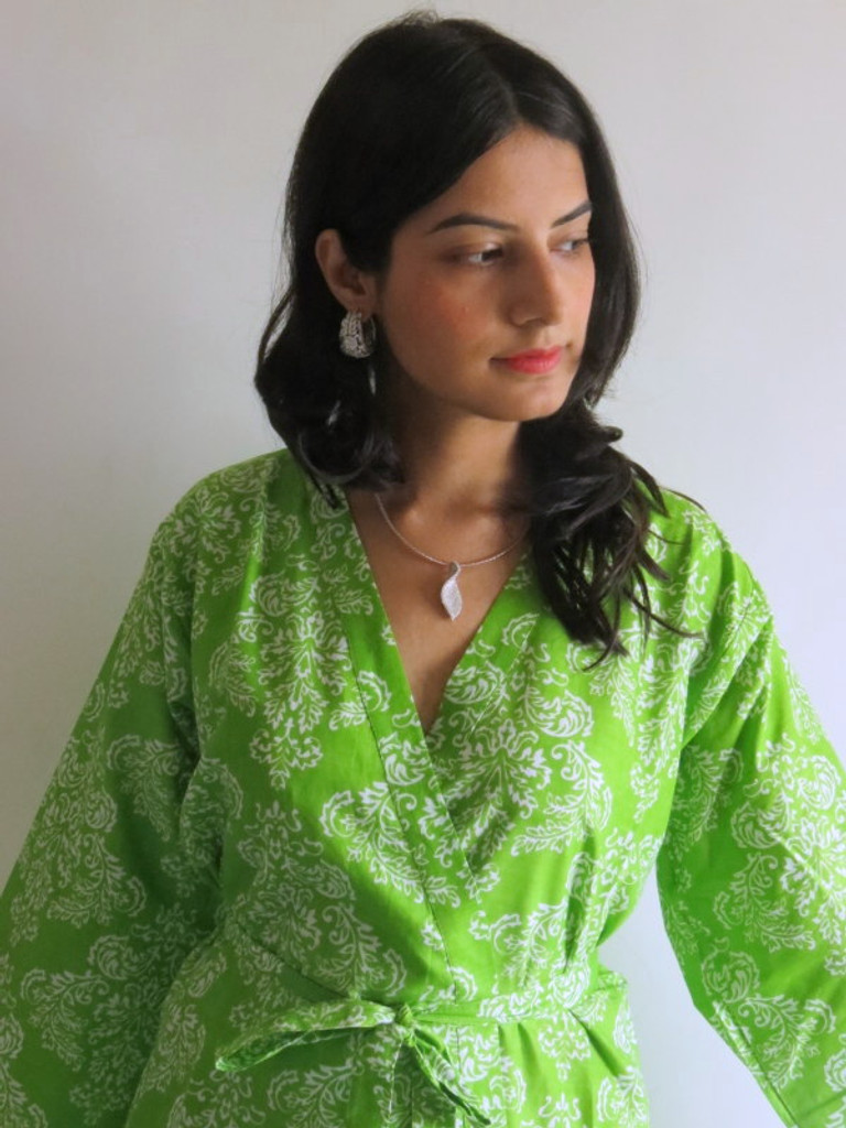 Green Damask Robes for bridesmaids | Getting Ready Bridal Robes