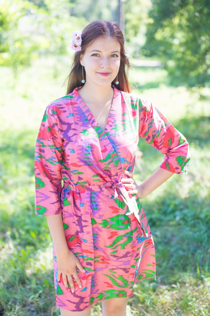 Coral Ikat Aztec Robes for bridesmaids
