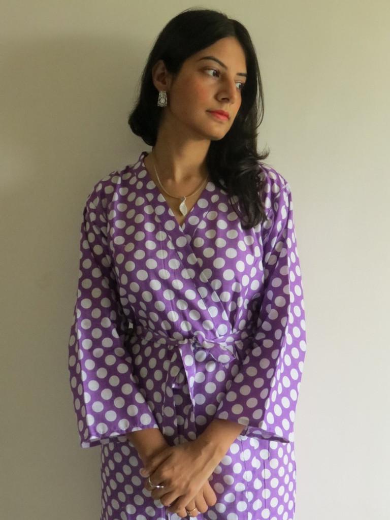 Lilac Polka Dots Robes for bridesmaids | Getting Ready Bridal Robes