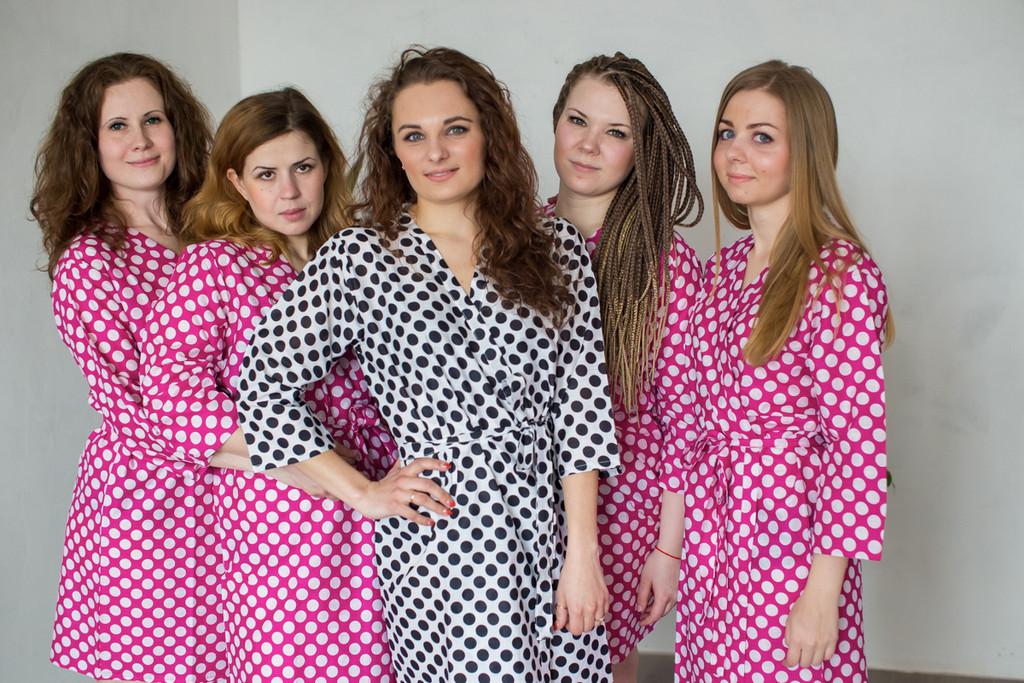 Magenta Polka Dots Robes for bridesmaids | Getting Ready Bridal Robes