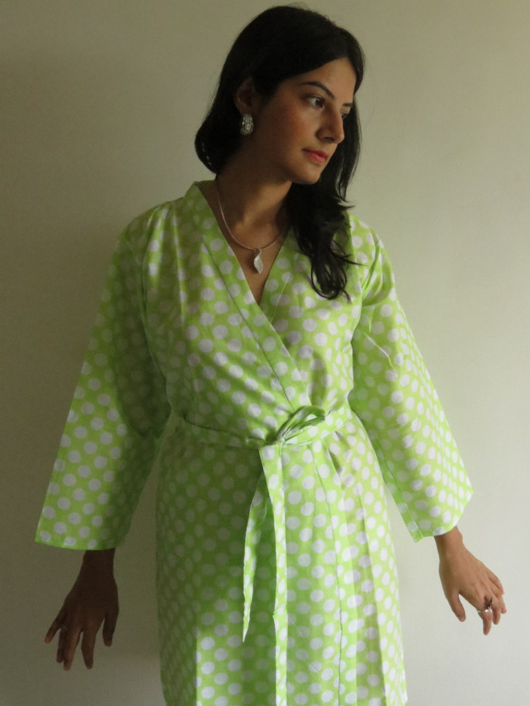 Neon Green Polka Dots Robes for bridesmaids | Getting Ready Bridal Robes