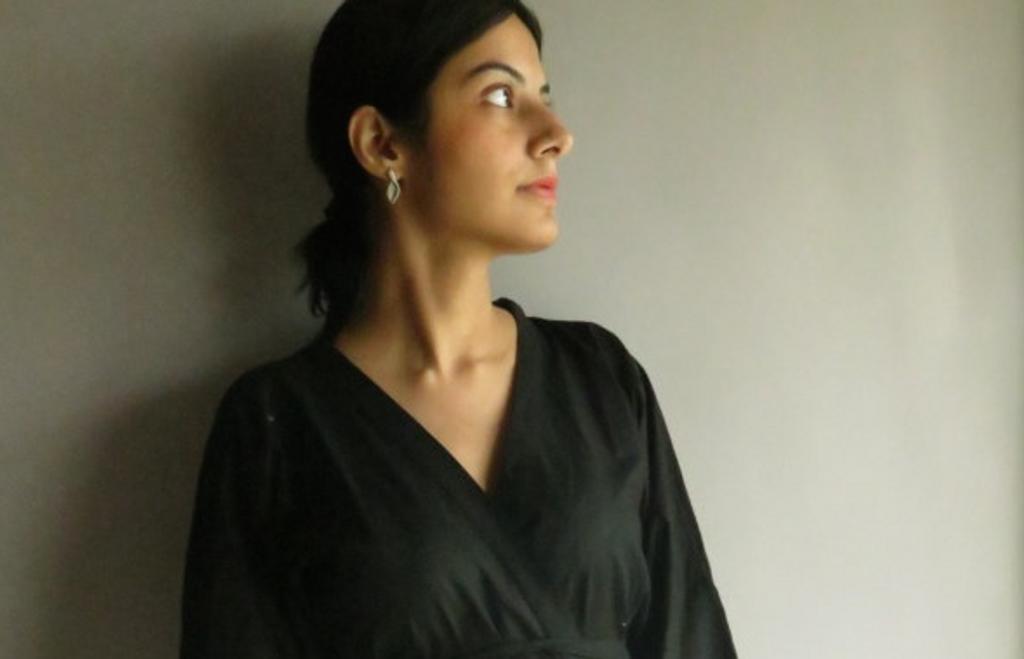 Solid black getting ready kimono crossover robe