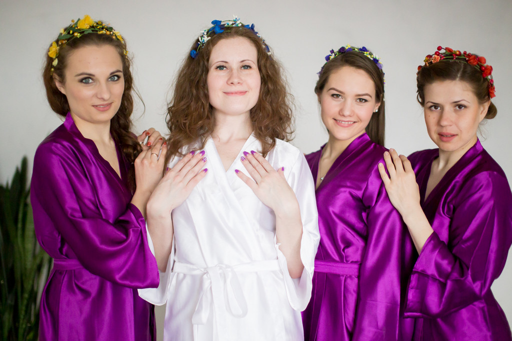 Silk Robes for bridesmaids in Solid Purple Color