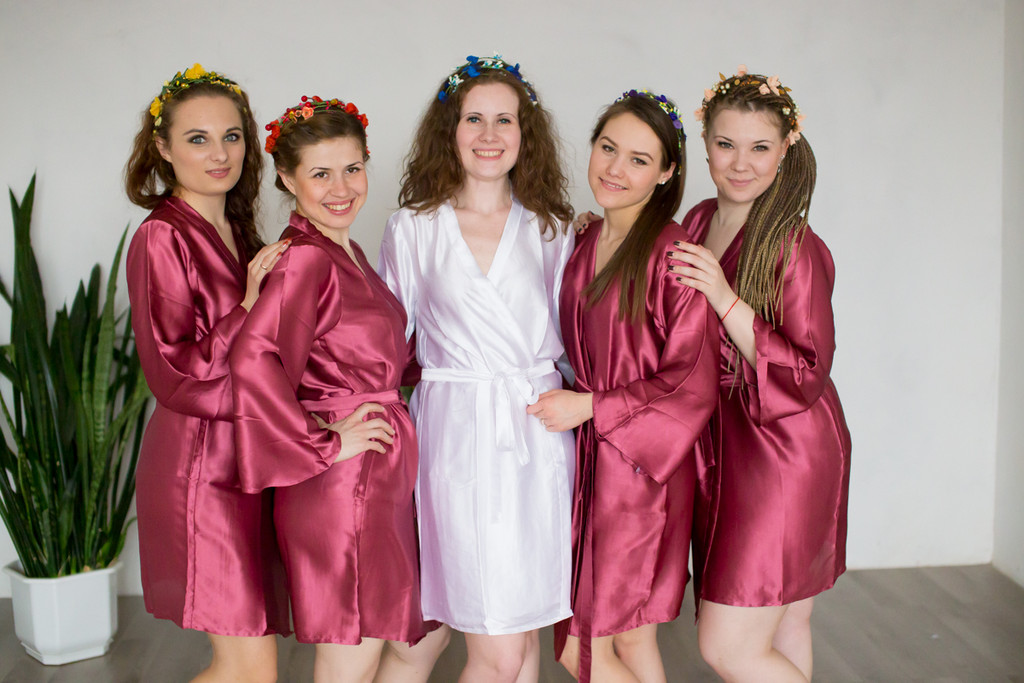Plain Silk Robes for bridesmaids in Raspberry Marsala Color