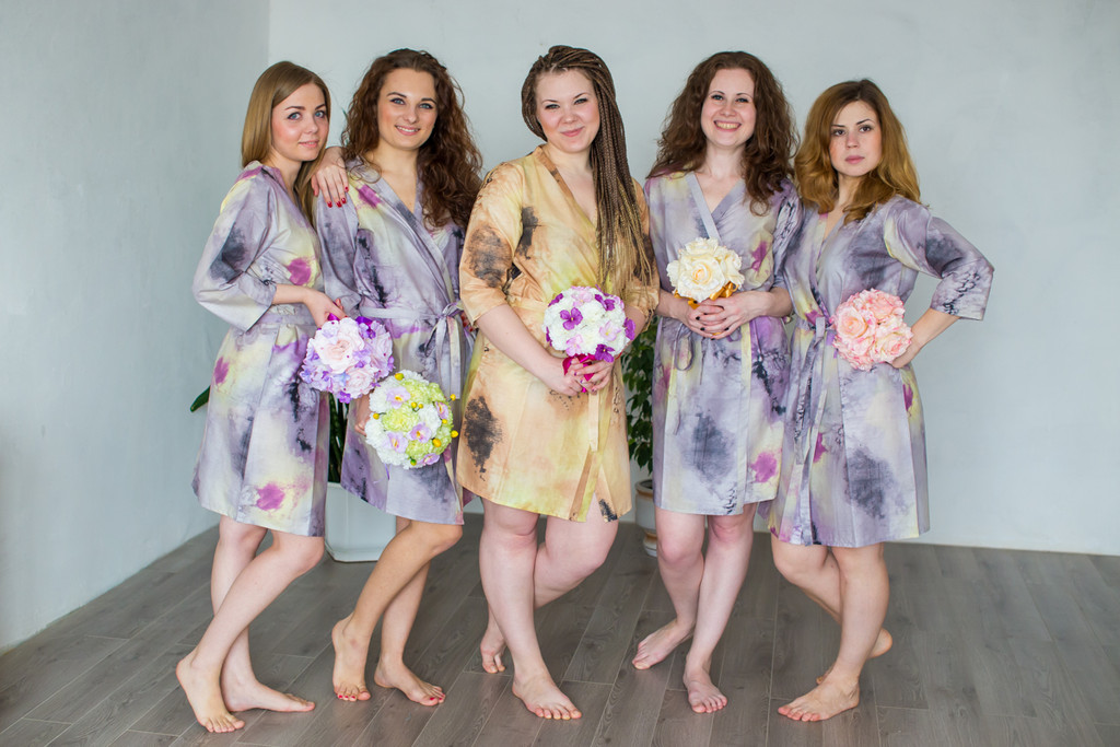 Beige Watercolor Splash Robes for bridesmaids   Getting Ready Bridal Robes