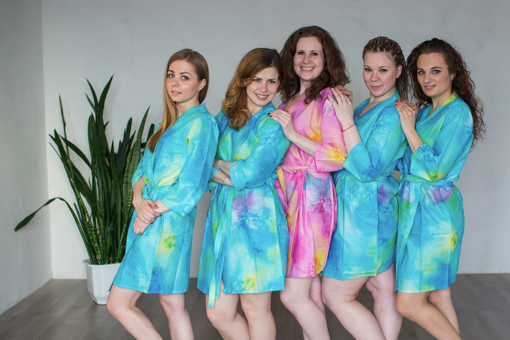 Blue Watercolor Splash Robes for bridesmaids   Getting Ready Bridal Robes