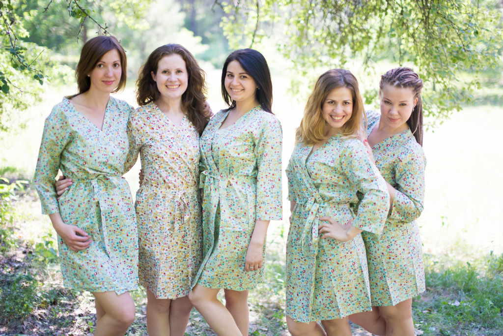 Mint Petit Floral Robes for bridesmaids