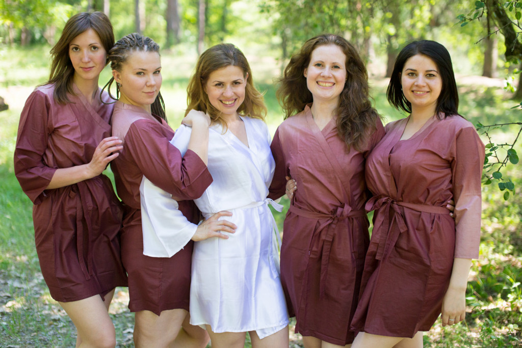 Brown Ombre Tie Dye Robes for bridesmaids