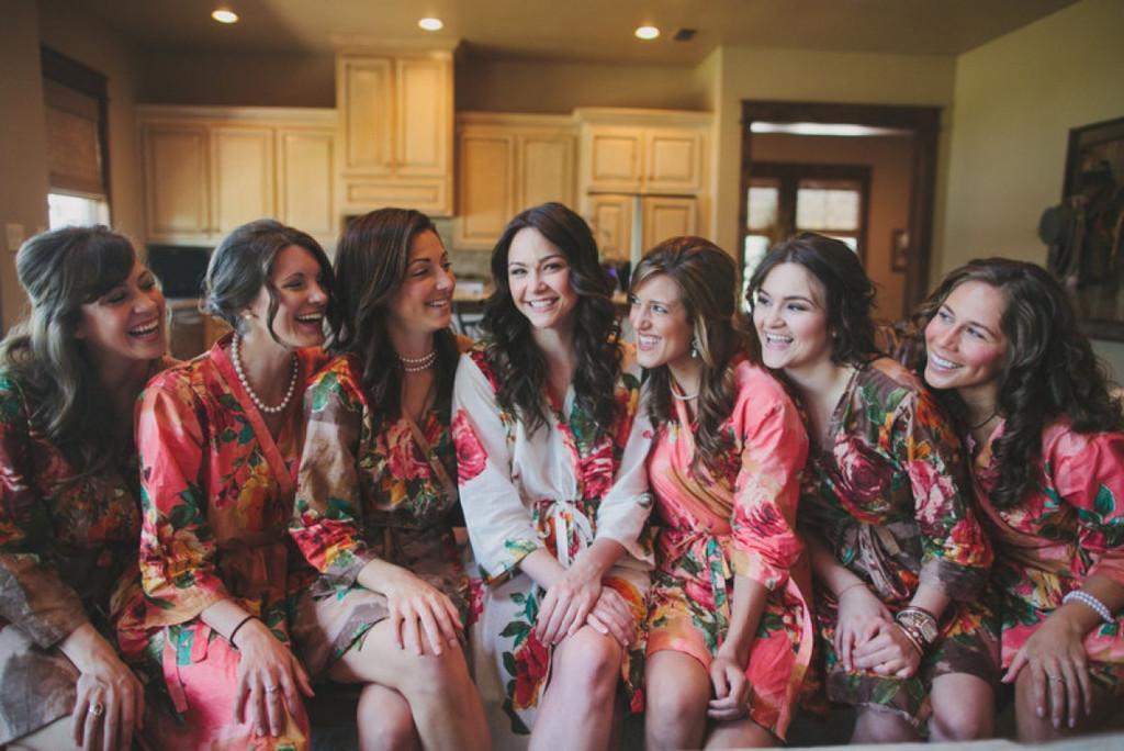Brown and Coral Bridesmaids Robes