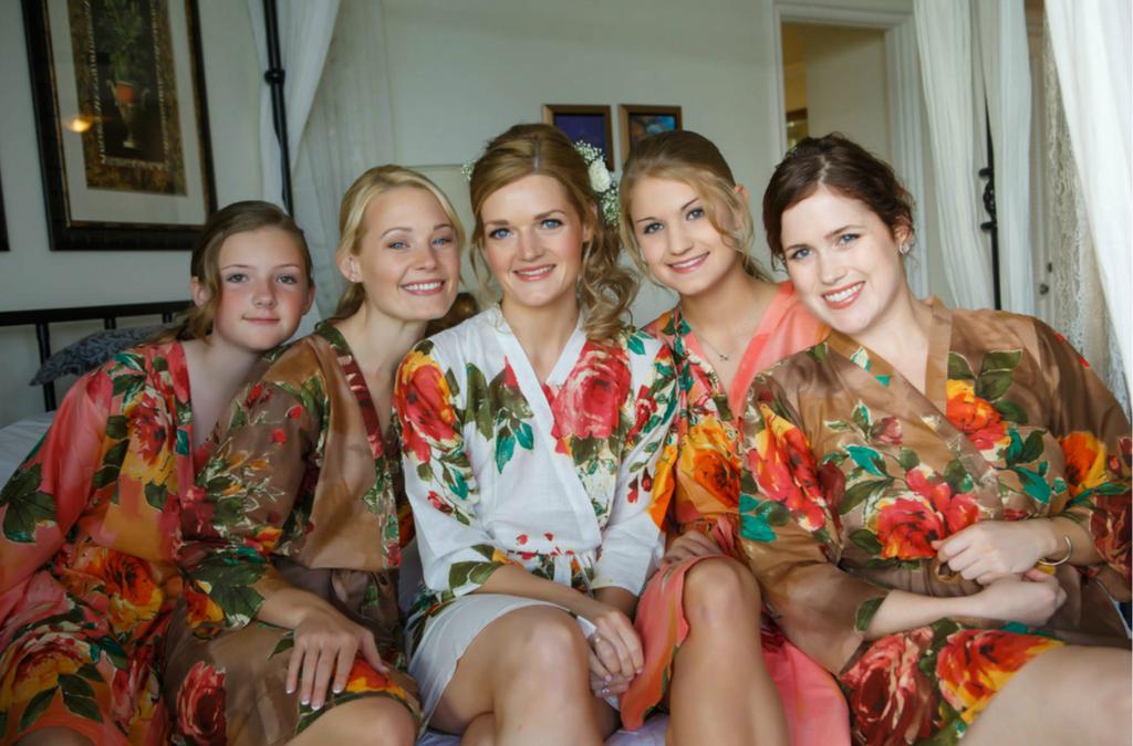Tan Brown and Coral Bridesmaids Robes
